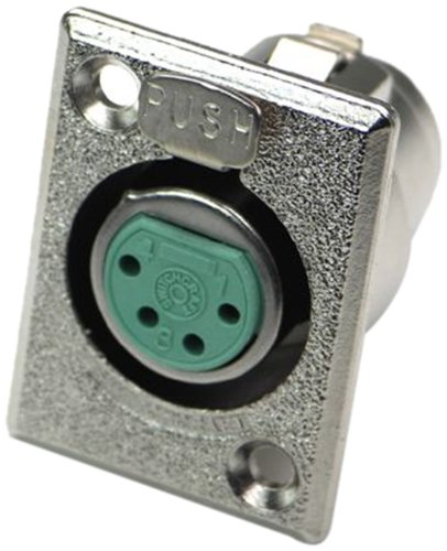 Switchcraft D4F 4-Pin Female XLR Panel Mount Plug, Nickel Finish ()