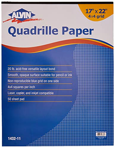 Alvin Quadrille Paper Grid Pad, Size 17 x 22 Inches (1432-11) (Best 11x17 Printer For Architects)