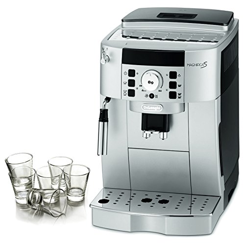 DeLonghi Magnifica XS Silver Super Automatic Espresso Machine with Free Set of 6 Italian Espresso Shot Glasses by DeLonghi