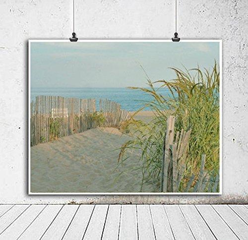 Coastal Photography Print, Sand Dune, Green Beach Grass, Beach Fence Picture, Large Wall Decor, Aqua Ocean Photo Print, Nature Beach Photography 5x7, 8x10, 11x14, 12x16, 12x18, 16x24