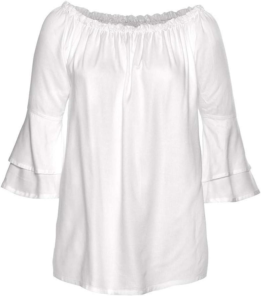 Vectry Damen Langarmshirt M/ädchen Elastisch Schulterfreie Gedruckt Oberteile Top Lose Mode Schlagh/ülse Bluse Pullover Tunika