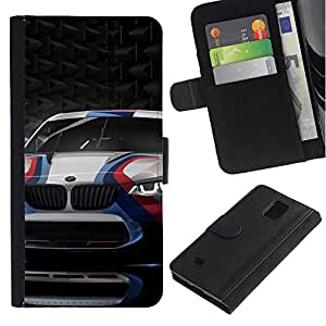 KingStore / Leather Etui en cuir / Samsung Galaxy Note 4 IV / Carreras de coches Deporte Cicatriz de fibra de carbono Ruedas