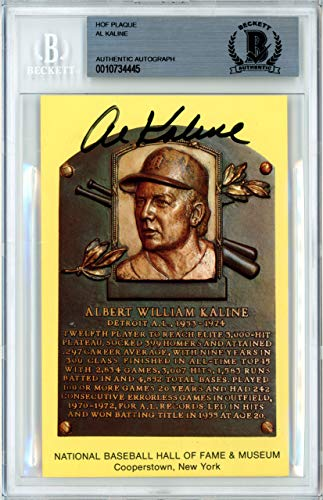 Al Kaline Autographed Signed HOF Plaque Postcard Detroit Tigers Memorabilia Beckett Authentic