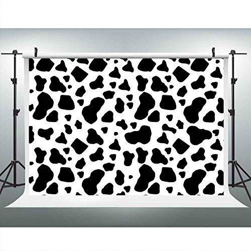 (Cow Print Backdrops for Photography,9x6FT,Black and White Cow Skin Photo Backgrounds,for Children Kids Birthday Party Decor YouTube LULX018)