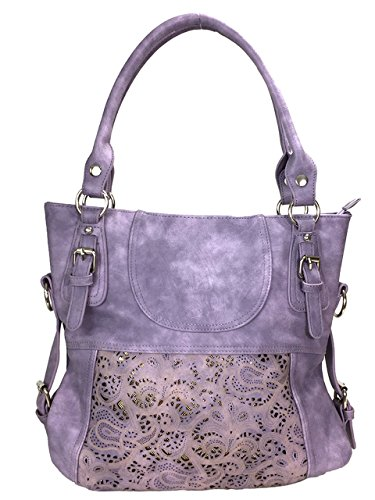 Zzfab Laser Cut Hobo Bag Double Handles Big Purple Purse by ZZFAB