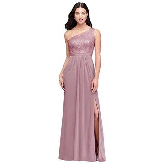 37e012979b2 David s Bridal One-Shoulder Sequin and Mesh Bridesmaid Dress Style  AP2E202811