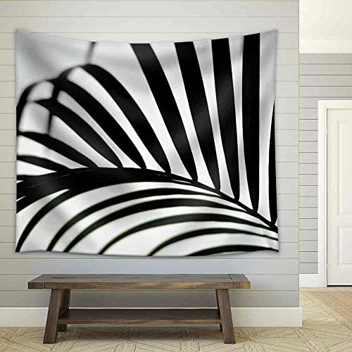 Palm Leaf Black and White Fabric Wall