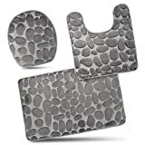 Bathroom Rug Mats Set 3 Piece - Memory Foam Extra Soft Shower Bath Rugs – Contour Mat and Lid Cover - Perfect Combination of Luxury and Comfort - Gray/Stones