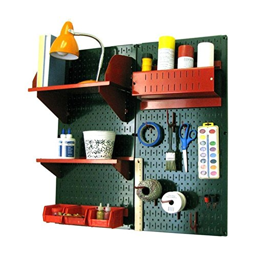 Wall Control 30-CC-200 GNR Hobby Craft Pegboard Organizer Storage Kit with Green Pegboard and Red Accessories by Wall Control