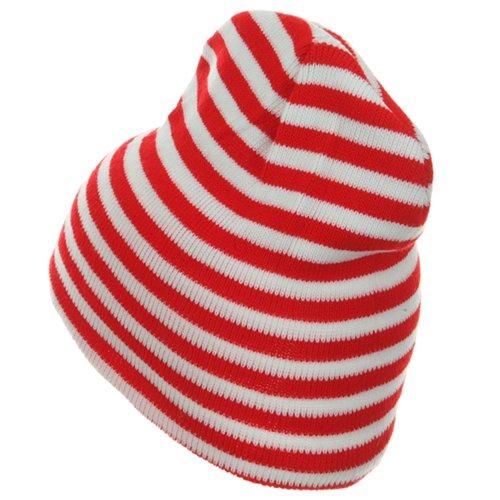 480d36669e7 Trendy Striped Beanie - Red White W28S20E  Amazon.co.uk  Clothing