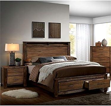 Amazon Com Pemberly Row Rustic 2 Piece Queen Bedroom Set In Oak