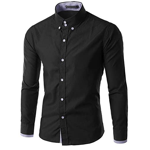 Men V Neck T-Shirt Slim Fit Blouse Tops Mens Casual Cotton Tee Long Sleeve Top