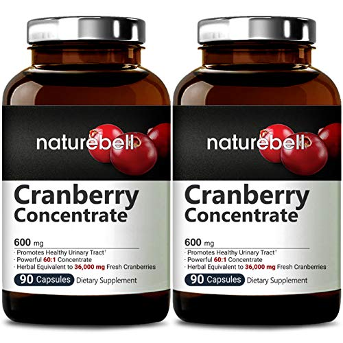 Cranberry Whole Fruit Concentrate (Made with Organic Cranberries), 90 Capsules, Equivalent to 36000mg of Fresh Cranberries, Supports Urinary Tract Cleanse, Kidney and Bladder Health (2 Packs)