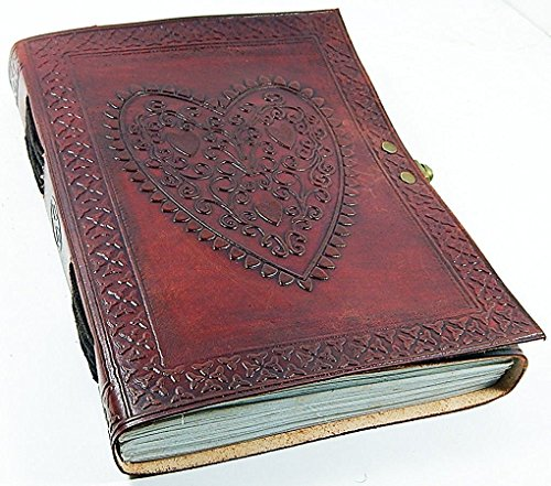 Leather journals christmas gift Large Vintage Heart Embossed Leather Journal Notebook Diary (Handmade Paper) - Coptic Bound With Lock Closure black friday & cyber monday gifts ()