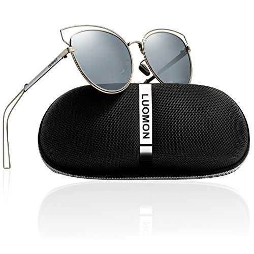 LUOMON Women's Polarized Butterfly Sunglasses Metal Silver Frame/Silver Mirrored Cat Eye Lens LM002