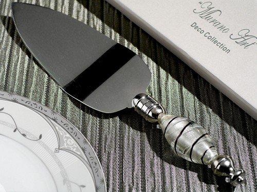 Murano Art Deco Collection Cake Server -Silver, Black & - Server Art Cake Deco