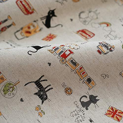 Amazon.com: Linen Fabric - 155 50cm Linen Fabric Cartoon Cat ...