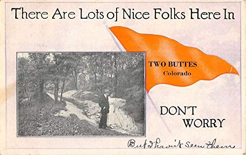 Two Buttes Colorado River Scenic Pennant Flag Antique Postcard K102570