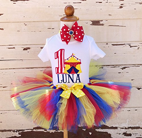 Circus 1st Birthday Tutu Outfit- Personalized Baby Girl- Under The Big Top ()