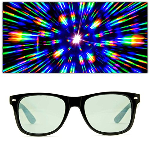 GloFX Ultimate Diffraction Glasses - Black Tinted - 3D Prism Effect EDM Rainbow Kaleidoscope Style Sunglasses
