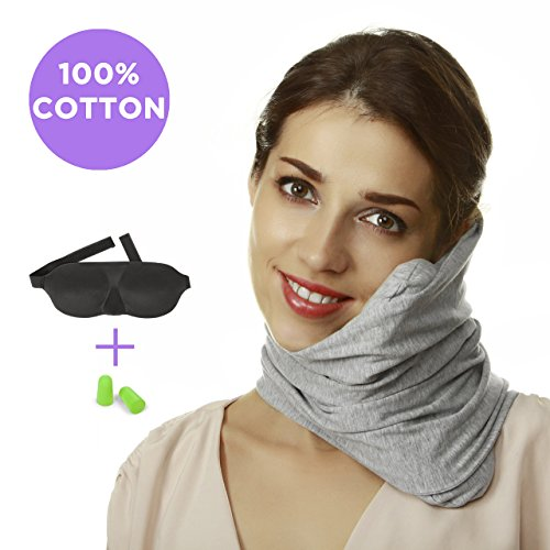 Travel Pillow Set : 100% Cotton Travel Neck Pillow with Memory Foam Support, 3D Sleep Mask, Earplugs - Airplane Pillows - Flight Pillow Wrap for Sleeping Travel Accessories - Travel Essentials Grey by Prokitline