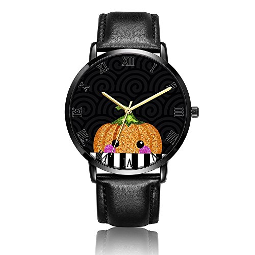 - Cwdron Customized Wrist Watch, pumpkin Pattern Design Analog Quartz Wrist Watch For Women and Men, Durable and Personalized PU Leather Wrist Watch