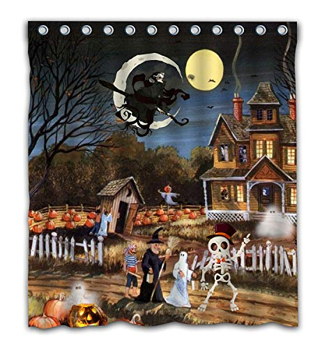 Potteroy Halloween Monsters Animation Autumn Harvest Pumpkin And Flying Witch Bat Shower Curtain Waterproof Polyester Fabric Shower Curtain 66x72 Inches