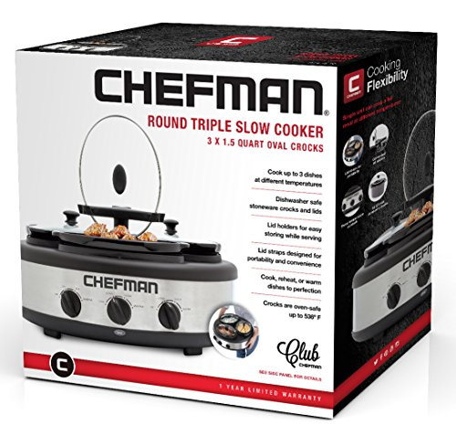 Chefman Triple Slow Cooker & Buffet Server with 3 Removable 1.5 Qt. Oval Crocks, Pot Inserts Individually Heat Controlled, Locking Lid Straps, Spoon & Lid Rests, Stainless Steel by Chefman (Image #5)