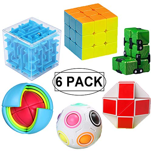 6 Pack Brain Teaser Puzzles Toy Set, Vdealen Brain Teaser Toys Bundle of 3x3x3 Speed Cube, 3D Maze Magic Box, Rainbow Ball, Wisdom Ball, Magic Snake Cube, Infinity Cube 3D Puzzle Toys for All Age