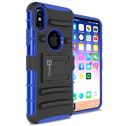 CoverON Explorer Series Fits iPhone Xs Holster Case, iPhone X Holster Case, Tough Protective Hybrid Phone Cover with Rotating Belt Clip for Apple iPhone Xs/X / 10S / 10 - Blue on Black ()