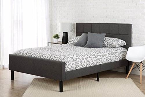 Zinus Upholstered Square Stitched Platform Bed with Footboard, King