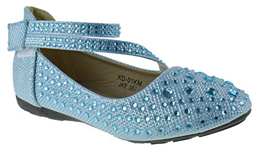 KD 01KM Little Girls Rhinestone Ballet Ballerina Flats Light Blue Glitter 1