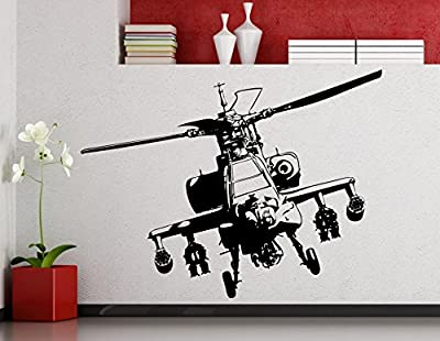 Apache Helicopter Wall Decal Aircraft Air Forces Military Copter Vinyl Sticker Home Nursery Kids Boy Girl Room Interior Art Decoration Any Room Mural Waterproof High Quality Vinyl Sticker (214xx)