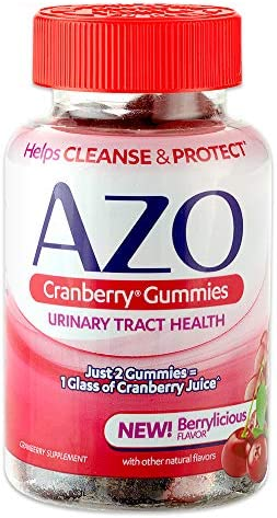 AZO Cranberry Urinary Tract Health Gummies Dietary Supplement 2 Gummies 1 Glass of Cranberry Juice Helps Cleanse Protect* Natural Mixed Berry Flavor 72 Gummie