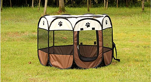 Portable Foldable Pet Playpen Dog Cage Exercise Kennel Cats Indoor/outdoor Removable Mesh Shade Cover Eight Pannel Mayco Bell (292917 Height Inches, Coffee White)