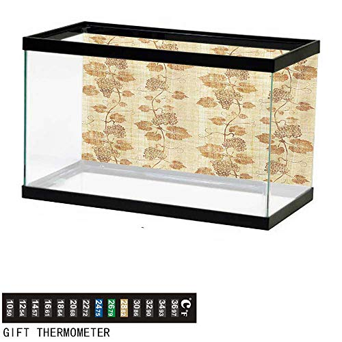 wwwhsl Aquarium Background,Vineyard,Cuisine Figure Ancient Egyptian Papyrus Like Parchment Aged Crumpled Artistic Display,Cream Fish Tank Backdrop 48