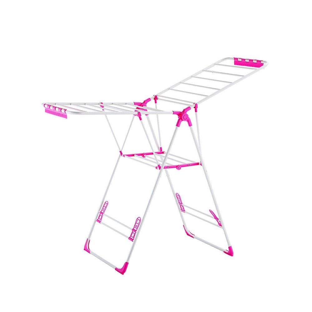 乾燥ラック床折りたたみバルコニー乾燥ラック乾燥キルト屋内のリムーバブルハンガー理髪店のホテルのタオルラックの家の服の棚の靴ラック138 * 50 * 97-121cm ## (色 : Pink) B07L1HX3CW Pink
