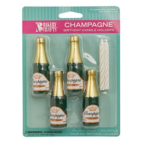 Champagne Bottle Cake Candle Holders with Candles - 4 ct