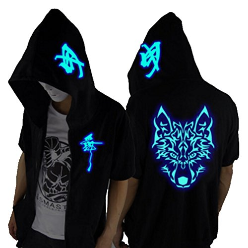 Unisex-Adult/Teens Galaxy Unique Design Short Sleeves Hoodie Luminescent Hoody Glow Lights at Night (Blue Wolf Head, S fits Height 65