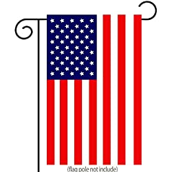 "Classic American Flag Garden Flag | Double-sided, Polyester, 12""X18"" + BONUS Rubber Stopper and Anti-wind Clip"