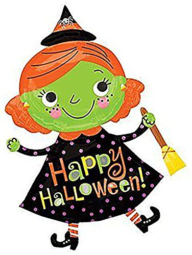 """Custom, Fun & Cool {XXL Massive Huge Size 37"""" Inch} 1 Unit of Helium & Air Inflatable Mylar Foil Balloon w/ Cute Polka Dot Dress Witch Happy Halloween Design [in Black, Orange, Purple & Green] (Orange And Black Halloween Colors Meaning)"""