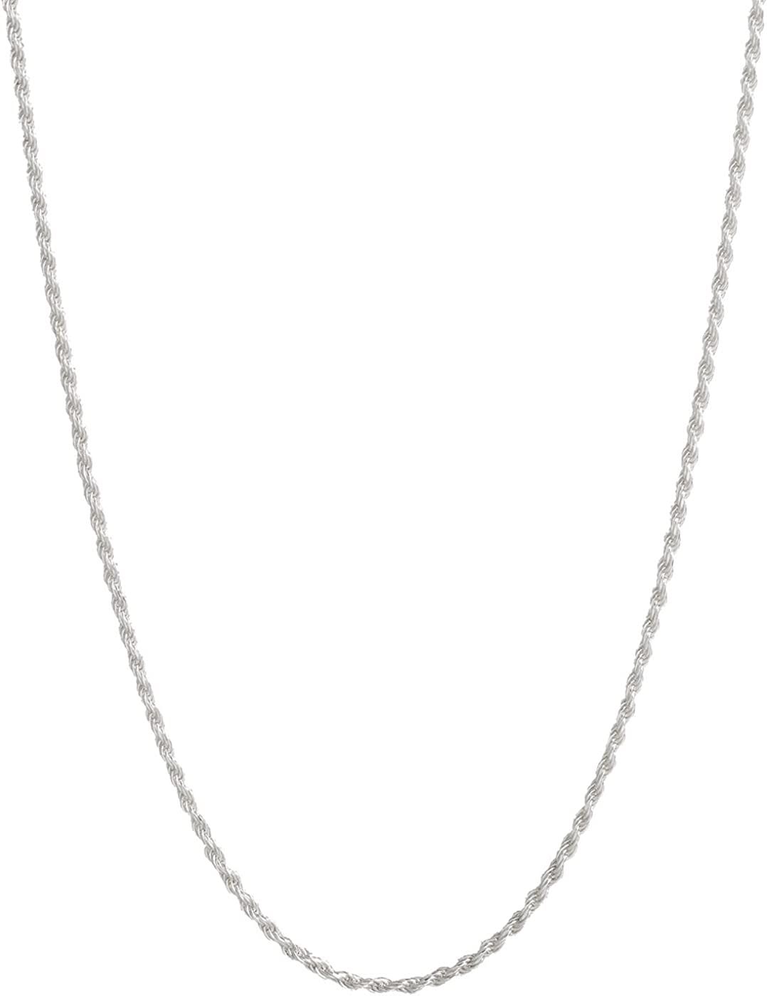 Italian .925 Sterling Silver 1.5mm or 2.25mm Rope Chain Necklace