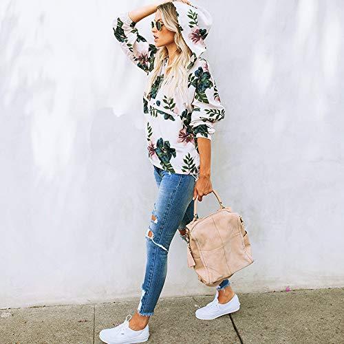 V Blouse Tee Femme Blouse Longue Chemisiers et Weant Blanc Tops Taille Femme Shirt Shirt Col Grande Imprim Dcontract Manche Chemise Femme Casual Blouses qzzx0rF