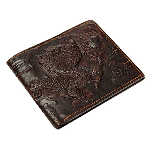 OURBAG Men's Genuine Leather Business Horizontal Bifold Wallet Purse Dragon Pattern Brown