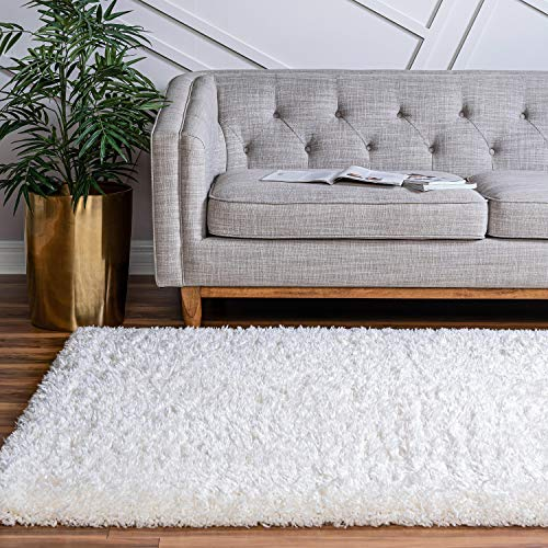 Rugs.com Infinity Collection Solid Shag Area Rug – Pearl 3 x 5 Plush Shag Rug Perfect for Entryways, Bedrooms, Living Rooms and More