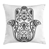 Ambesonne Hamsa Throw Pillow Cushion Cover, Traditional Hamsa Hand Third Eye Figure in the Centre Theme Ethnic Mandala Artwork, Decorative Square Accent Pillow Case, 18 X 18 Inches, Black White