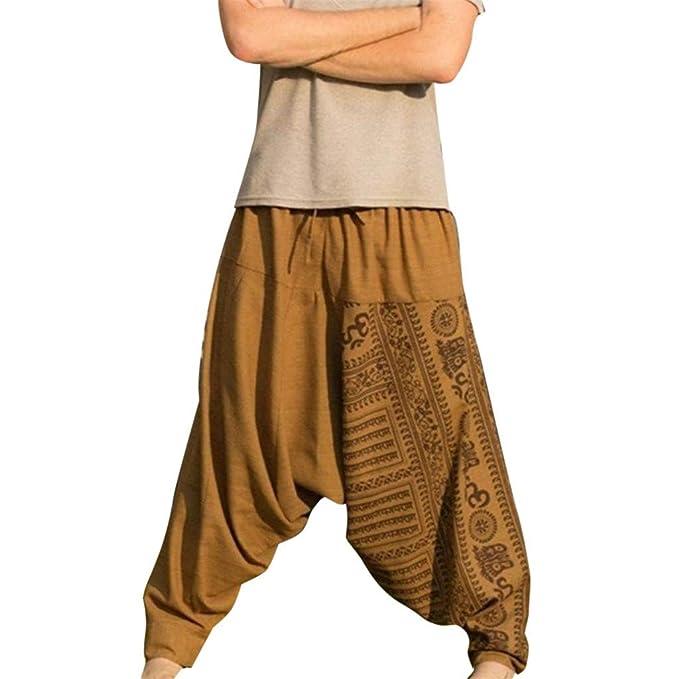 BAOHOKE Mens Baggy Lounge Hippie Harem Pants Side Pocket ...