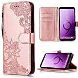 Shinyzone Wallet Case for Samsung Galaxy S9 Plus,Embossed Henna Mandala Pattern Series,Smart Stand and Magnetic Closure Leather Folio Flip Cover with ID Credit Card Slots-Rose Gold