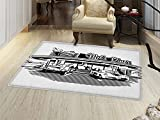 smallbeefly Retro Door Mat Small Rug Nostalgic Illustration of Retro Diner Restaurant with Vintage Cars Back in Fifties Bath Mat 3D Digital Printing Mat Black White