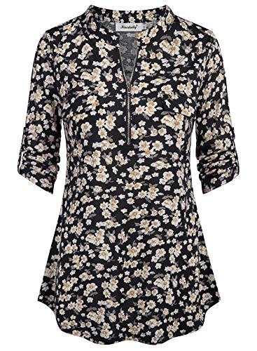 Ninedaily Floral Blouse for Women, Fashion 2019 Blusas De Mujer De Moda En Oferta T-Shirts Pullover Zip Up Notch V Neck Mini Dressy Blouses Office Business Formal Shirts Ladies Tops,BlackBeige Small ()